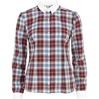 Red check contrast collar shirt - shirts - blouses / shirts - women