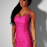 Barbie Pink Lace Sweetheart Mini Dress | Pink Boutique
