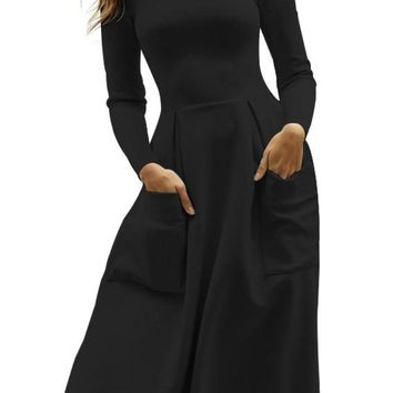 Casual Black Bateau Collar Big Pocket Midi Skater Dress