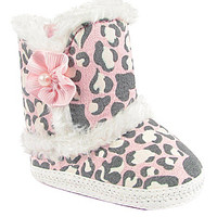 Baby Deer Faux-Fur Trimmed Leopard-Print Boots - Ivory