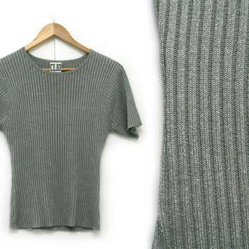 Vintage Silk Metallic Shirt~Size Small/Medium~80s 90s Grey Silver Sparkly Ribbed Knit Tee~By CLIO