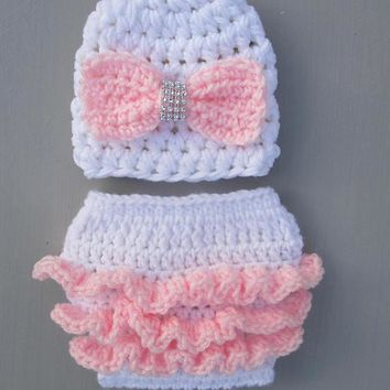 Newborn White Ruffle Diaper And Hat Pink Bow Photo Prop