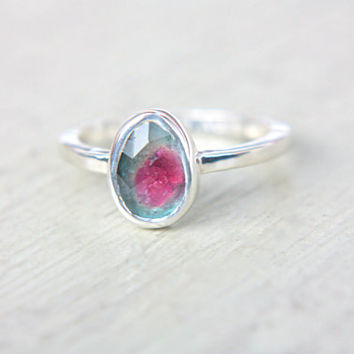 Watermelon Tourmaline Ring Sterling Silver Natural Rose Cut Tourmaline Engagement Gemstone Engagement Ring Size 7-8 Silversmith