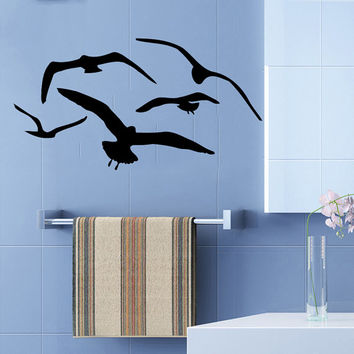 Birds Flying Wall Decals Sea Gulls Home Interior Design Bathroom Art Mural Vinyl Decal Sticker Kids Nursery Baby Room Decor COK7