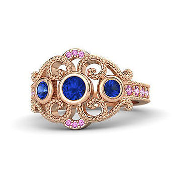Blue & Pink Sapphire Disney Princess Wedding Ring in Rose Gold Gold 925 Sterling