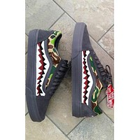 VANS Old Skool Shark Pattern Grey Flat Sport Shoes Sneakers I
