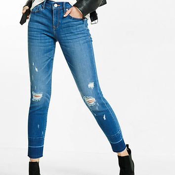 mid rise distressed super skinny ankle jean