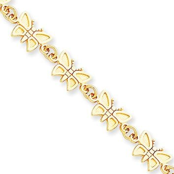 14k Yellow Gold Butterfly Bracelet - 7 Inch