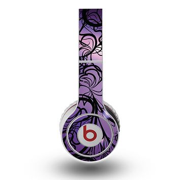 The Violet with Black Highlighted Spirals Skin for the Original Beats by Dre Wireless Headphones