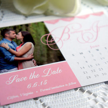 Pink Save the Date Magnet – Photo Magnet, Wedding, Photo Save the Date, Calendar Magnet, Script, Lace, Save the Dates - DEPOSIT