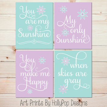 You Are My Sunshine Art Prints Purple Aqua Mint Nursery Wall Set Of 4