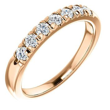 Clover Round Moissanite French Pave Anniversary Band