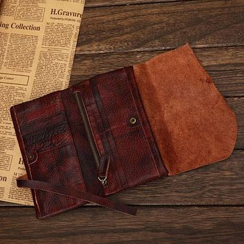 Designer Natural Cowhide Leather Purse with String Trifold Buffalo Real Leather Wallet for women and men Large Capacity Clutch