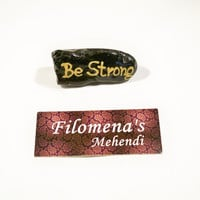 Stay strong, Art on stone, Friendship gift, Stronger than you, You are braver, Message rocks, Motivational, Golden stone, Positive quote