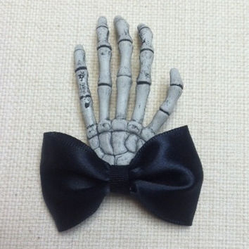 Skeleton Hand Hair Bow