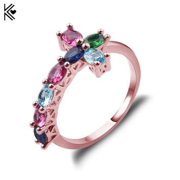 Polychromatic Trend Sideways Cross Ring Silver/Rose Gold Rings Fashion Jewelry Colorful Crystal Vintage Wedding Ring for Women