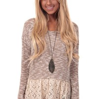 Mocha Sweater with Lace Trim Detail
