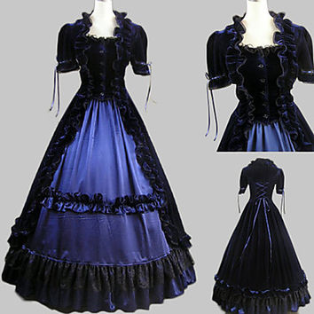 Short Sleeve Floor-length Ink Blue Satin Velvet Aristocrat Lolita Dress Alternative Measures - Brides & Bridesmaids - Wedding, Bridal, Prom, Formal Gown