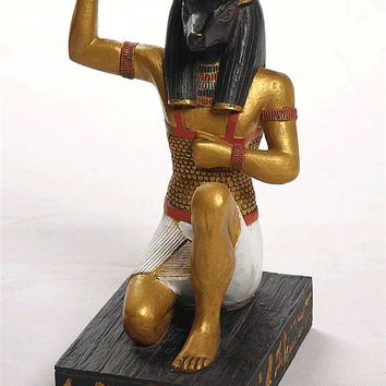 Anubis Ancient Egyptian God of Dead Saluting the Rising Sun Statue 8H