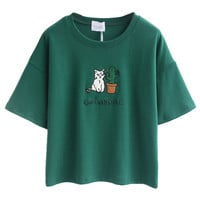 Green Embroidery Letter And Cat Patch Short Sleeve T-shirt - Choies.com