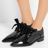 Lanvin - Grosgrain-trimmed patent-leather brogues