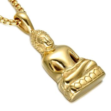 HIP Siddhattha Gotama Buddha Necklaces Gold Color Indian Buddhism Avalokites' Vara Pendant Necklaces For Men And Women Jewelry