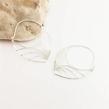 Sterling Silver Wire Wrapped Petal Hoops- Large- E460SS-L-WP -handmade wire jewelry by cristysjewelry
