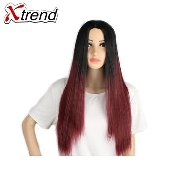 Xtrend 26'' Long Synthetic Straight Hair Wigs Black Burgundy Green Ombre kanekalon Heat Resistant Cosplay Wigs For Women