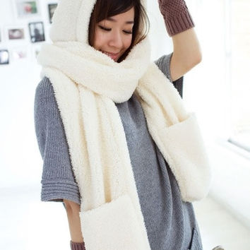 Winter Warm Women Hoodie Gloves Pocket Earflap Hat Long Scarf Shawl Snood Wraps = 1931497476