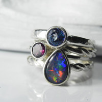 Stacking Rings  Opal Stack with Garnet Blue by FantaSeaJewelry