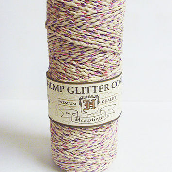 Metallic Pink Purple Glitter  Hemp Cord  1mm 20 test Macrame Cord  Twine  jewelry making   hippie
