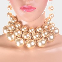 """14"""" cream faux pearl multi layered necklace 2.50"""" earrings bridal prom"""
