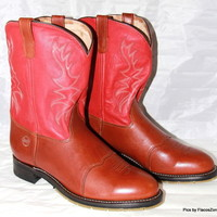DOUBLE-H Roper Boots Cowboy Brown/Red Leather Mens Size 13 D