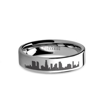 Los Angeles City Skyline Cityscape Engraved Tungsten Ring