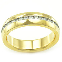 Philip's Stainless Steel Yellow Gold 32 Stone CZ Wedding Band