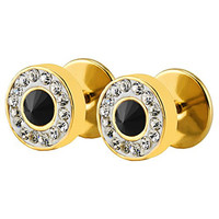 Stainless Steel Sparkling Crystal Rhinestone Diamond Spike Round Barbell Screw Stud Earrings Faux Taper