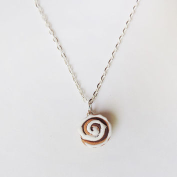 Scented Cinnamon Roll Necklace Polymer Clay Charm by MadAristocrat