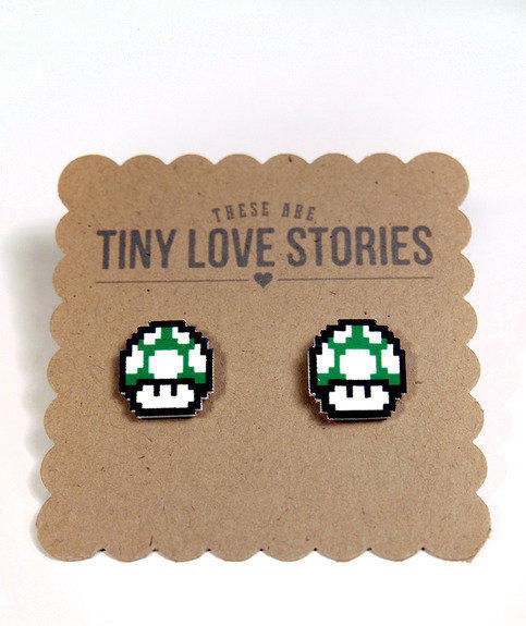 1-Up Mushroom Earrings in Green from Tiny Love Stories