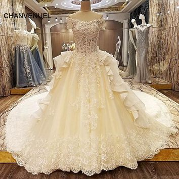 LS66323 special wedding dresses lace ball gown short sleeves corset back wedding gowns 2018 robe de mariage real photos