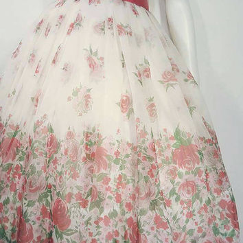 50s Rose Border Print Floral Dress | Sheer Chiffon | Layered Dress | Extra Small | Party | Cocktail | Floral | Vintage VTG | XS S