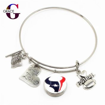 Houston Texans Team Sports Adjustable I Love Football Expandable Women Bracelets Bangle With 18mm Ginger Glass Snaps Buttons