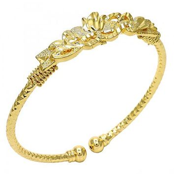 Gold Layered 07.311.0002 Individual Bangle, Flower Design, Diamond Cutting Finish, Golden Tone (03 MM Thickness, One size fits all)