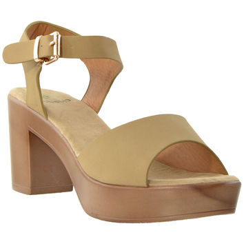 Womens Block Heel Platform Sandals Taupe