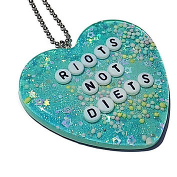 Feminist Necklace Riots Not Diets Pendant Gender Equality Jewelry
