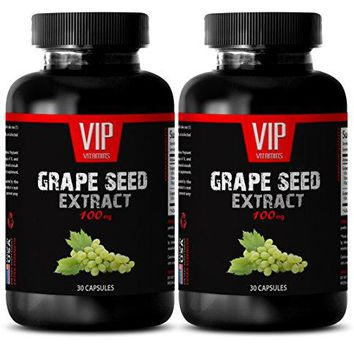 VIP VITAMINS Bone support - GRAPE SEED EXTRACT 100 - Grape seed and Resveratrol - 2 Bottles - 60 Capsules