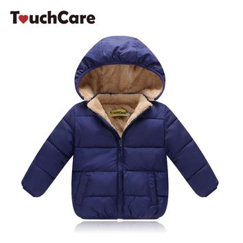 TouchCare Boys Winter Cotton Velvet Jacket Kids Girls Padded Fleece Outerwear Coat Children Tops Clothes Chaqueta para ninos
