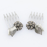 Pair of Silver Marcasite Flower and Leaf Hair Combs-Vintage, Art Deco,Bridal, Flower Girl