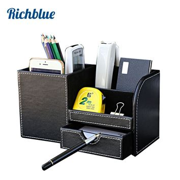Wooden PU leather Multi-Functional Desk Stationery Organizer Storage Box Pen Pencil Box Holder Case