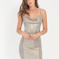 Champagne Toast Metallic Cowl Minidress