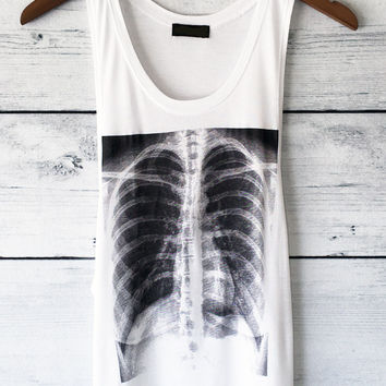 X-Ray Skeleton Rib Cage White Tank Top